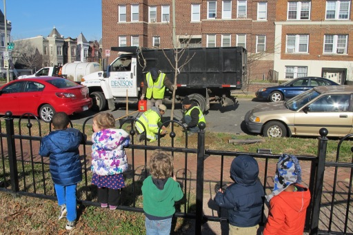 Young Students Watch a DDOT Planting Crew at Work