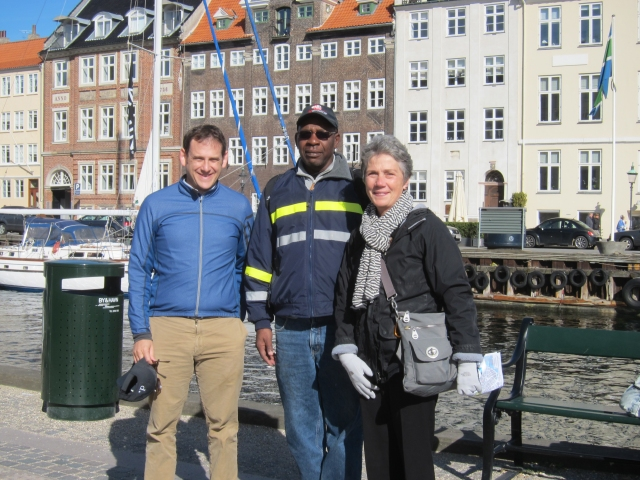 DDOT's Policy, Planning and Sustainability Associate Director Sam Zimbabwe; Director Terry Bellamy; and the D.C. Bicycle Council's Ellen Jones at Copenhagen's Nyhavn canal.