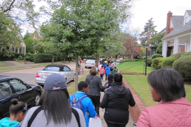 Families walk to Shepherd Elementary School on International Walk to School Day.