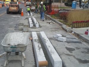 DDOT crews installing M Street cycle rack