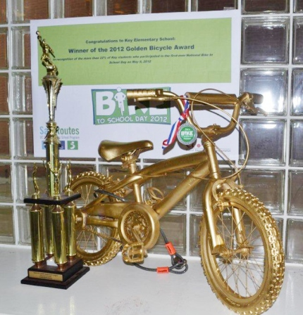 Key Elementary School proudly displays the Golden Bicycle it won in 2012.