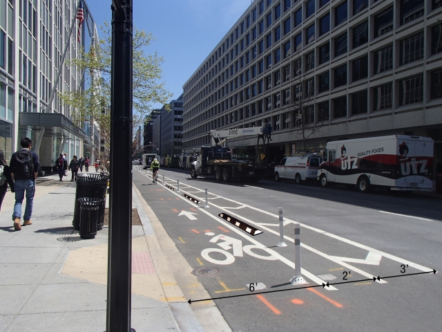 A rendering of the proposed changes to the L Street Cycletrack.