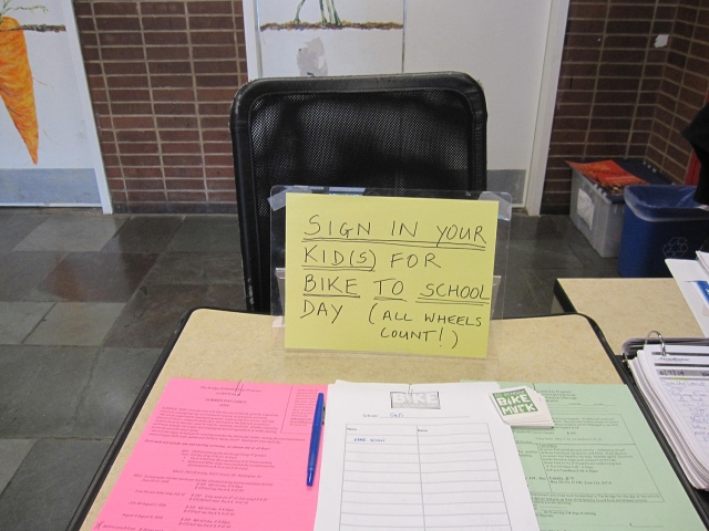 A sign in sheet at School-Within-School (920 F Street NW) to count Bike to School Day participation for the Golden Bicycle Competition.