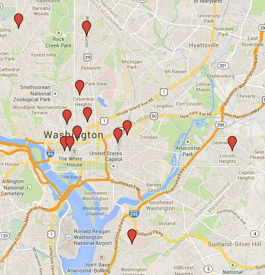 Twelve potential locations for future Capital Bikeshare stations.